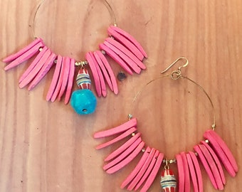 Summer Sky: Coconut Shell, Magnesite, African Trade Bead and Gold Bead, Hoop Earrings