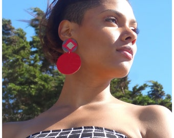 Fire: Leather and Patterned Paper Earrings