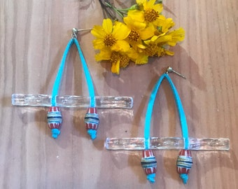 On the Water: Faux Suede, Vintage Lucite and African, Trade Bead Earrings