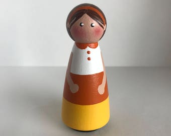 Candy Corn Girl Peg Doll
