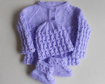 Lilac Blossom Baby Set Knitting Pattern