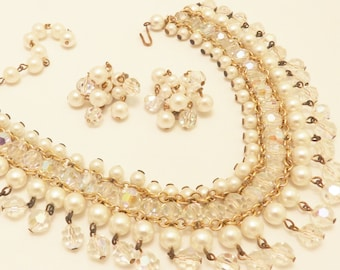 Faux Pearl and Clear Crystal Necklace and Earring Pearlcraft Jewelry Set
