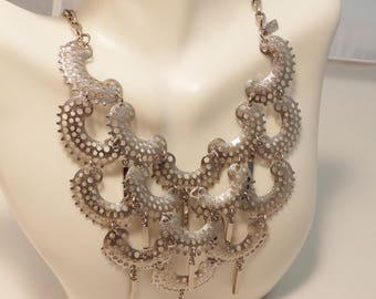 Sarah Coventry Vintage Pampilles Silver Bib Statement Necklace