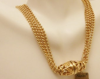 Gold Tone Bead Napier Vintage Multistrand Necklace
