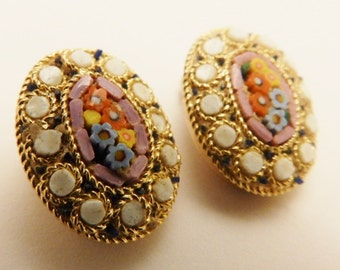 Italian Micro Mosaic Pink Flower Vintage Clip On Earrings