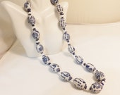 Asian Blue Bead Porcelain Hand Painted Vintage Necklace