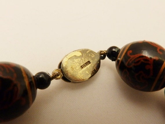 1940's Art Deco Bakelite Bead Necklace, Large Bak… - image 4