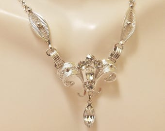 Sterling Silver Crystal Tear Drop Pendant Bridal Necklace