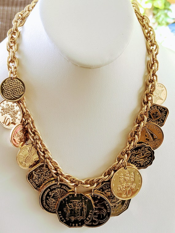 Vintage Gold Tone Chunky Faux Coin Necklace, Vinta
