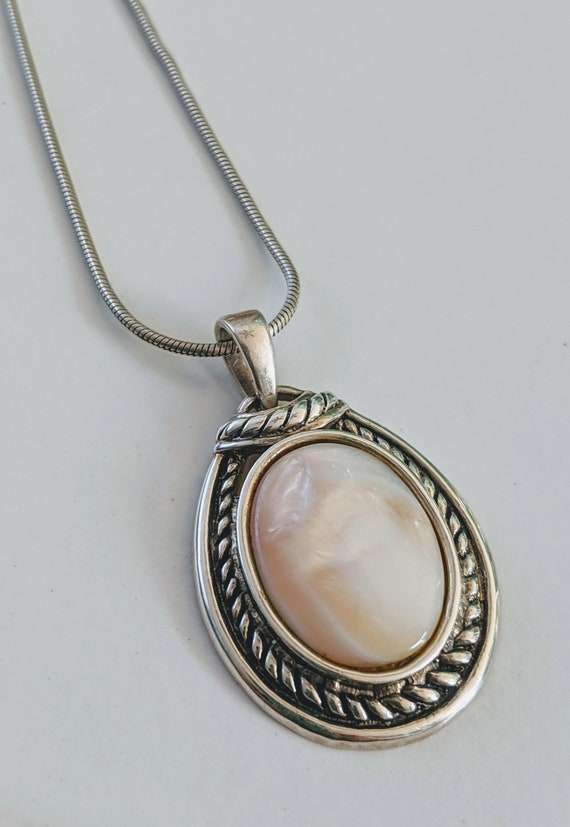 925 Sterling Silver Mother Of Pearl Pendant Neckla