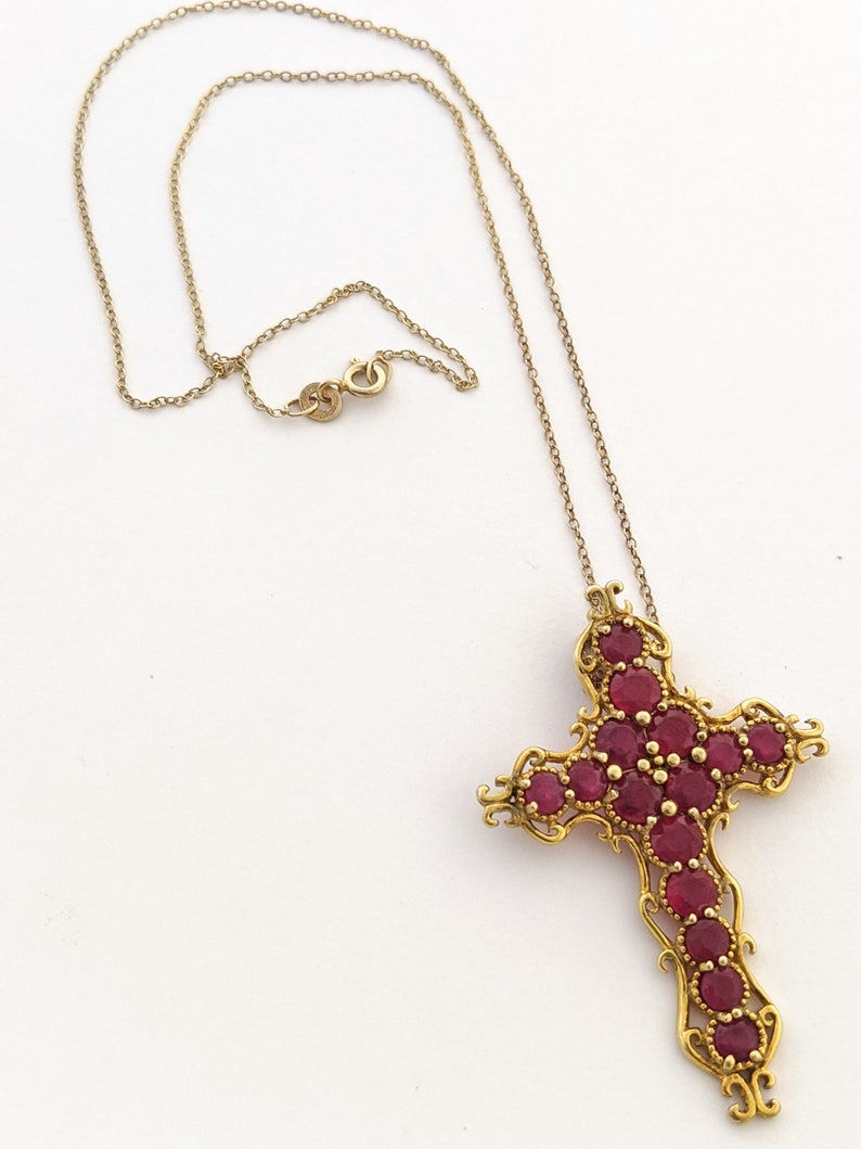 Valentines Day Gift For Mom Vintage Large Red Gemstone Pendant Necklace Genuine Natural Ruby 925 Sterling Silver Gold Vermeil Cross