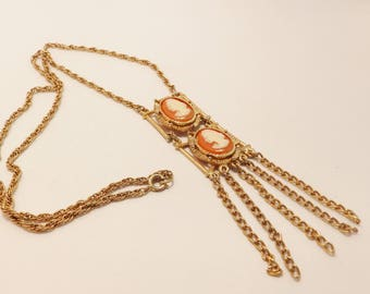 Vintage Gold Tone Double Cameo Necklace