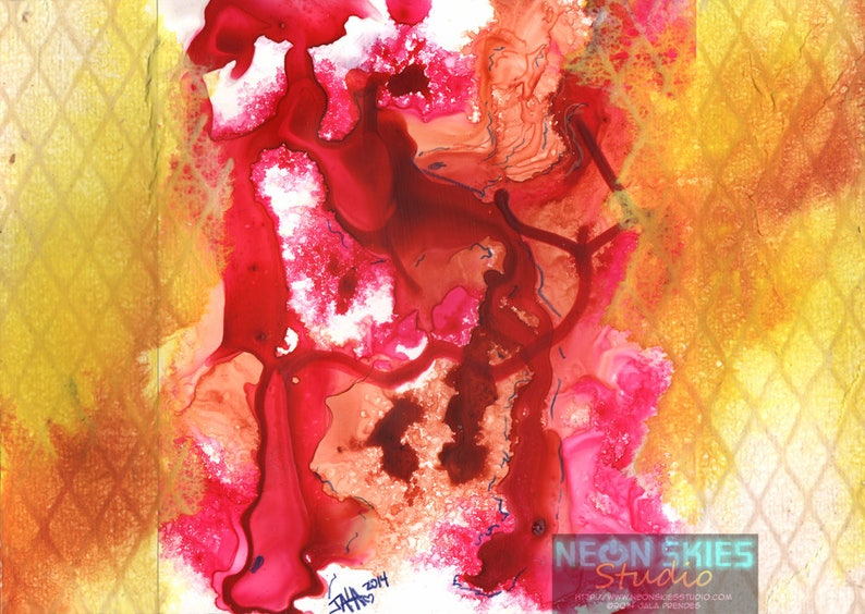 Hidden and Delicate  Original Acrylic Ink Painting image 0