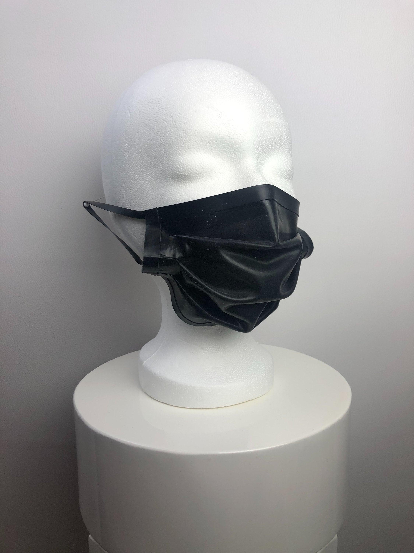 Latex Mund-Nasen-Maske schwarz