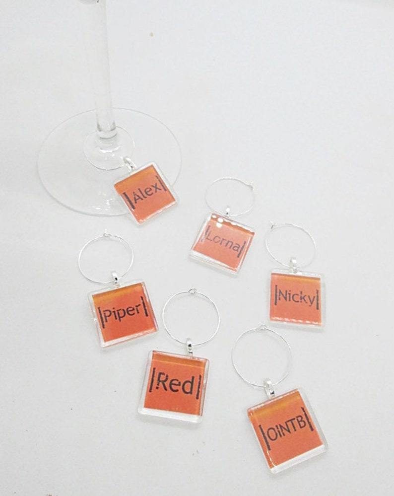OINTB Wine Tags set of 6 OITNB Alex Vause Orange is the New Black Wine Charms Wine Glass Charms OINTB Red Piper Chapman