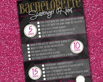 Bachelorette Party Scavenger Hunt, Gold and Pink - 5x7 - Printable PDF & JPG - Instant Download