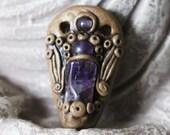 Amethyst Angel Gold Polymer Clay Crown Chakra Pendant