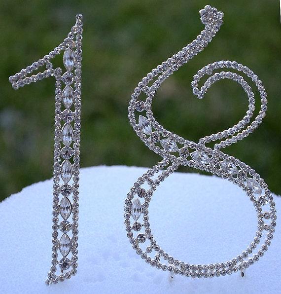 """5/"""" Rhinestone Silver Number Thirteen 13 Bling Cake Topper Birthday Anniversary"""