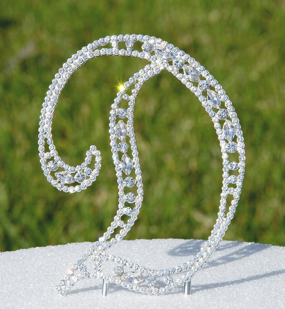 ebdda59767 Grande 5 cristal Rhinestone pastel Topper letra D
