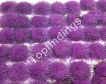 b0b0fd99d10 2pcs DIY Genuine Mink Fur ball Furry Ball for Handbag Charm, Keychain-  Purple (40-60mm)