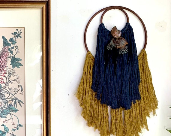 Multicolor Macrame Wall Hanging - Nested Circle Moon with Ammonite and Feathers - Iridescent Fossil on Navy, Gold & Brown Macrame Art Decor