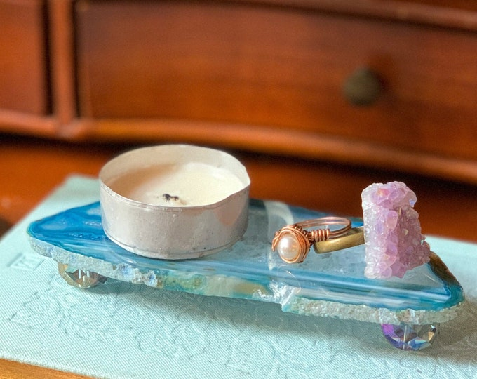 Agate and Crystal Ring Dish & Candle Dish / Ready to Ship Gift for Her / Three Shapes - Raised Round Oval and Aura Moon Agate Slice Plate