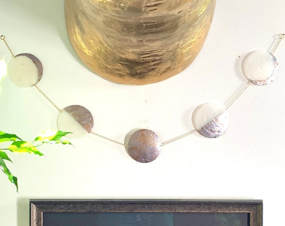 Moon Phase Wall Hanging Hand-Painted on Capiz Shell / Metallic Hand-Painted Natural Shell with Chain / Boho Celestial Decor - Moon Wall Art