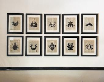 Rorschach Ink Blot Print Set on Vintage Dictionary Pages - Black or Color Ink - Set of 10 Prints - Vintage Art Set Prints for Gallery Wall