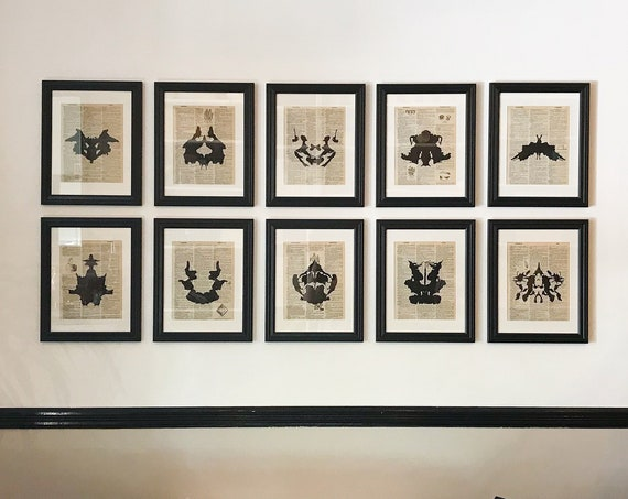 Rorschach Ink Blot Print Set on Vintage Dictionary Pages - Black or Color Ink - Set of 10 Prints - Vintage Art Set Prints for Gallery Wall