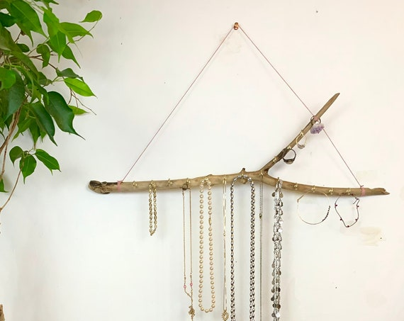 Driftwood Branch Jewelry Display / Ready to Ship Gift for Her / Boho Jewelry Organizer Wall Hanging Jewelry Storage of Found Driftwood