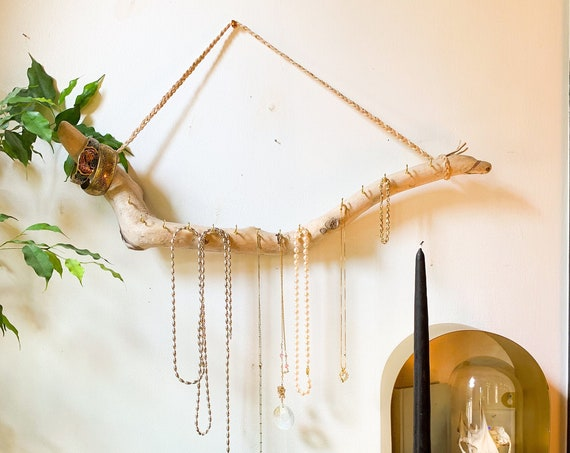 Driftwood Jewelry Hanger / Ready to Ship Gift for Her - Dorm Organization / Wall Hanging Necklace Display - Boho Decor Jewelry Organizer