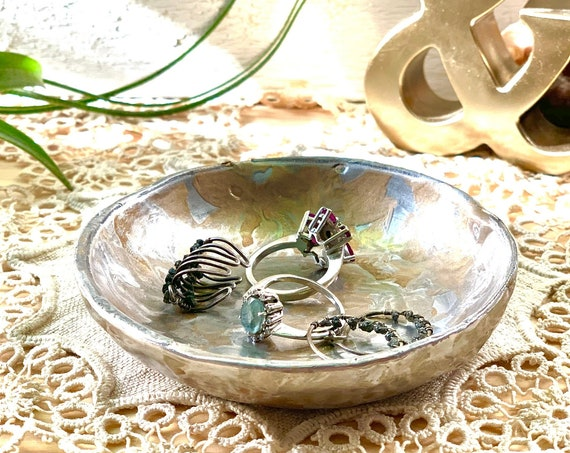 Metallic Gold and Silver Painted Clay Ring Dish / Gold & Silver Small Dish for Earring and Ring Storage / Catchall Jewelry Dish Gift for Her