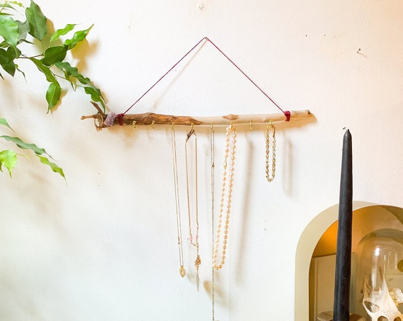 Driftwood Jewelry Hanger / Ready to Ship Gift for Her - Boho Decor Meets Chic Organization / Wall Hanging Necklace Display Jewelry Organizer
