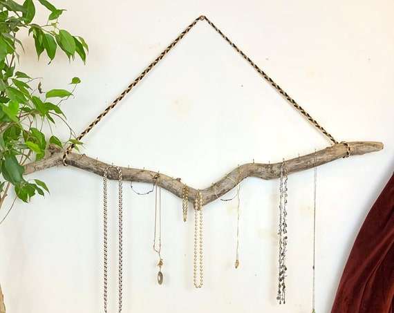 Driftwood Jewelry Hanger / Ready to Ship Valetines Gift / Boho Wall Hanging Jewelry Display / Necklace Organizer from Reclaimed Driftwood