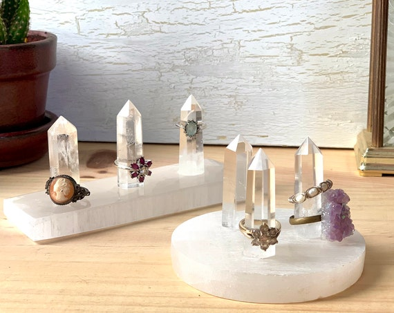 Three Point Ring Holders - Quartz & Selenite / Multiple Cone Ring Storage on Quartz Point w Selenite Base / Round or Long / Ring Organizer