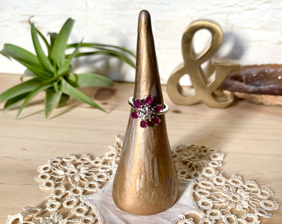 Metallic Painted Clay Ring Cone / Gold and Silver Hand-formed Ring Display / Simple Golden Ring Holder / Ready to Ship Gift for Her