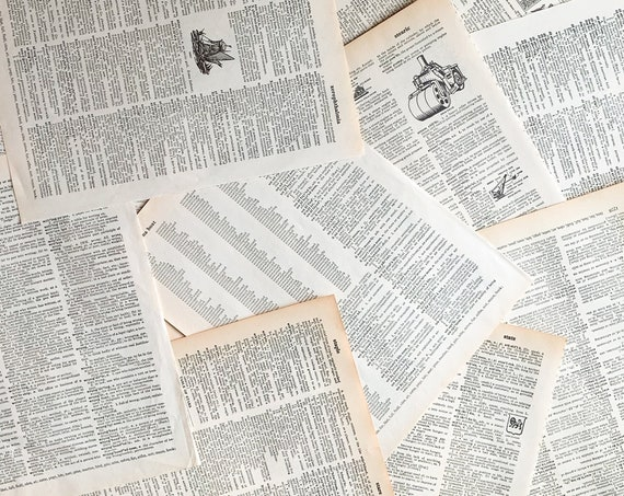 Loose Vintage Dictionary Pages - Bundles of 10, 25, 50 - Antique Naturally Faded Paper Sheets from Old Dictionaries