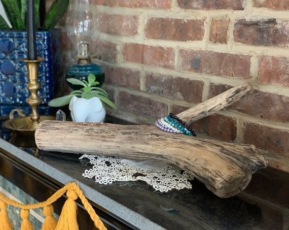 Natural Wood Jewelry Display - Self-Standing Driftwood Log with Branch - Driftwood Jewelry Stand for Displaying Bracelets and Rings