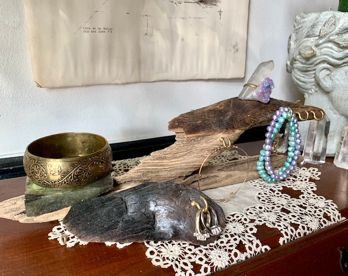 Jewelry Stands - Driftwood & Gemstone Standing Jewelry Displays / Ready to Ship Gift for Her - 9 New Pieces / Reclaimed Wood Jewelry Storage