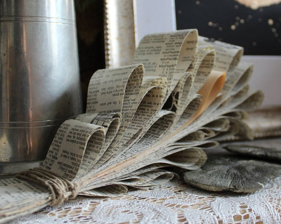 Vintage Paper Flower - Wall Hanging or Shelf Decor - Paper Bohemian Decor - Garland-like Boho Flowers from Antique Dictionary Pages