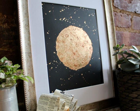 Sun - Gold Copper Metallic Painting Original Art Gold Space Abstract Copper Celestial Artwork Golden Sun Decor Reflective Metallic Painting
