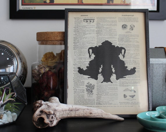 One Ink Blot Print on Dictionary Page / Black or Color / Rorschach Ink Blots on Vintage Dictionary Paper - Sold Individually Per Image