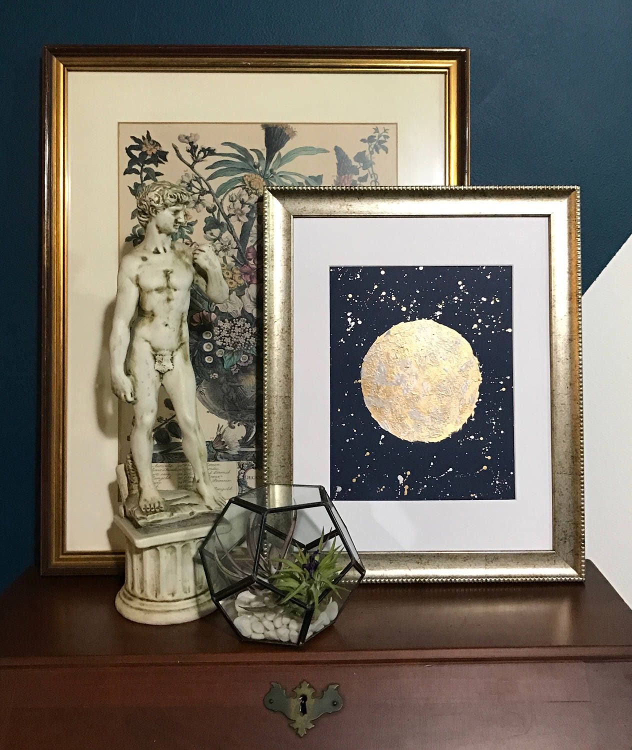 moon gold silver metallic art abstract painting silvery night sky