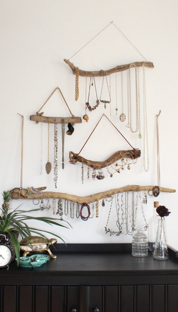 Driftwood Jewelry Organizer - Made to Order Jewelry Hangers - Pick the Driftwood - Boho Decor Storage Jewelry Holder Hanging Jewelry Display