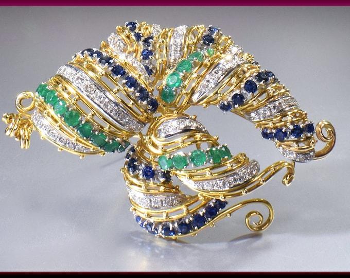 Emerald, Sapphire and Diamond Pin, 1960's Diamond Pin 18k Yellow Gold Diamond Pin, Bridal Brooch, Brooch Bouquet