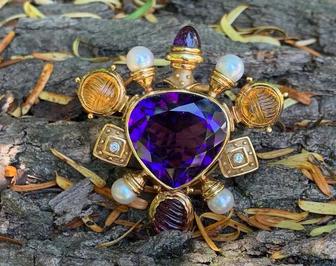 18k Yellow Gold Brooch, Gold and Amethyst Brooch, Citrine Brooch, Pearl Brooch, Diamond Brooch, Brooch Bouquet, Bridal Brooch