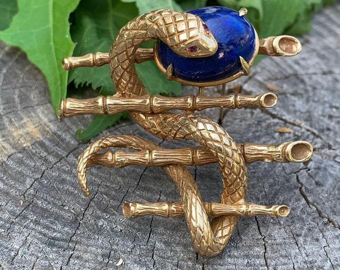 Snake Brooch, Snake Pendant, Snake Jewelry, Lapis Snake Brooch, Gold Snake Pin