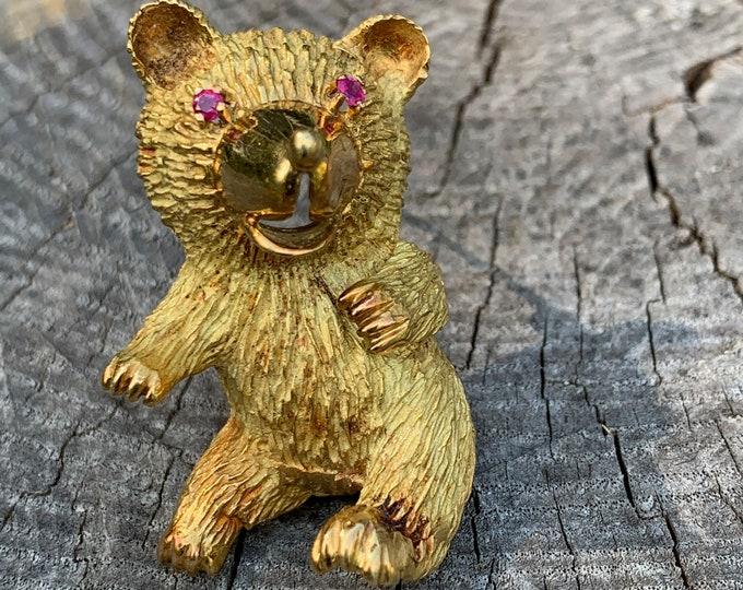 Yellow Gold Bear Brooch, Teddy Bear Brooch, Gold Teddy Bear,  Bear Pin, Bear Brooch