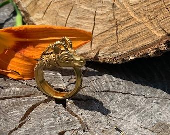 Gold Aries Ram Ring, Ram Head Ring, Gold Ram Head Ring, Ram Ring