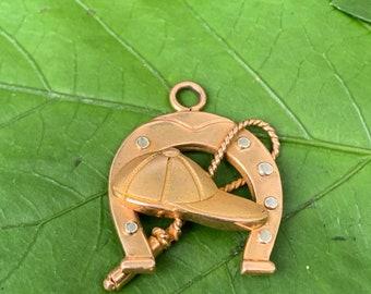 Horse Shoe Charm, Horseshoe Charm, Gold Horseshoe, Good Luck Charm, Jockey Charm, Riding Crop Charm, Equestrian Charm